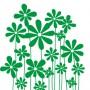 Wandtattoo stilistische Blumengruppe grün
